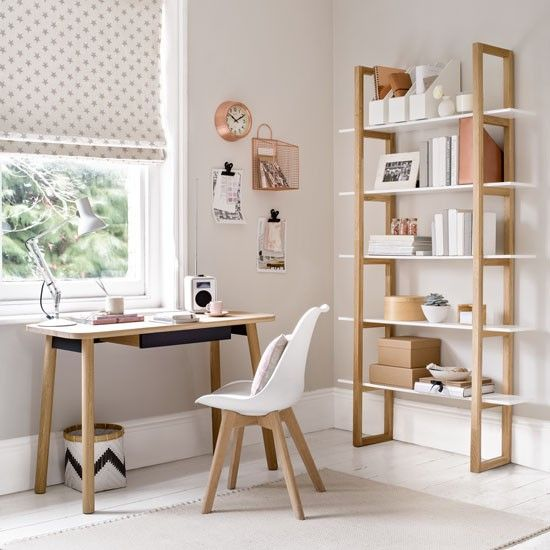 Home Office Inspiration pale grey decor with shelving