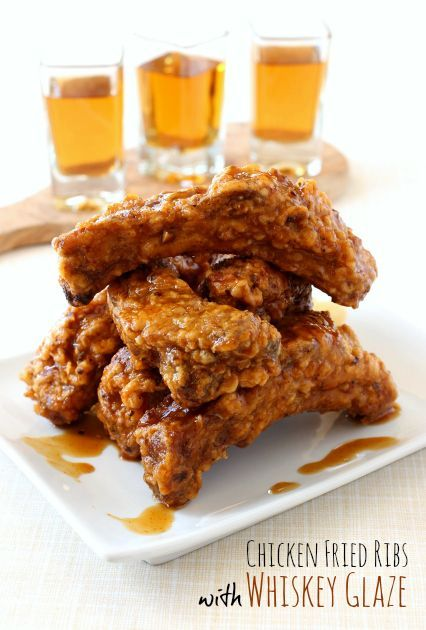 Crispy fried ribs covered in my favorite whiskey glaze! A recipe you won't want to miss!