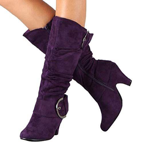 Damen Stiefel High Heels Klassische Stiefel mit Blockabsatz