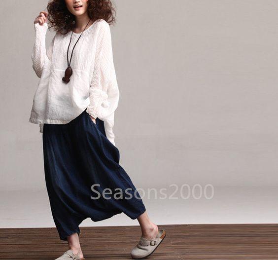 Women white beruffled linen shirt Long sleeve shirt flax long shirt casual loose shirt linen top loose style top Natural linen long shirt