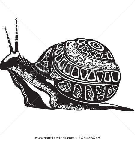 Vector Illustration Of A Totem Tattoo Animal - Snail - In Black And White Color - 143036458 : Shutterstock