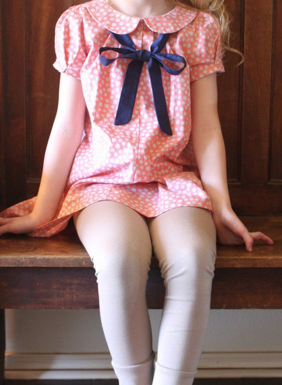 Girls vintage inspired peter pan collar dress.  Toddler girls dress in coral with navy bow.