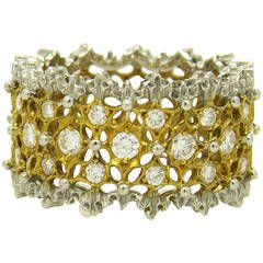 Buccellati Rombi Diamond White and Yellow Gold Band Ring