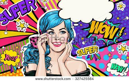 Pop Art illustration of blue head girl on Pop art  background.Pop Art girl. Party invitation. Birthday greeting card. Advertising poster. Comic woman. Romantic girl hiding her face. Pop art background
