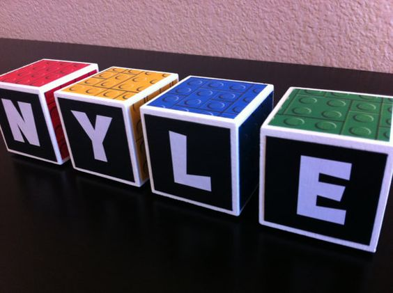 Personalized Name Blocks-Lego Print-LEGO Baby Photo Prop-LEGO Birthday Decor-LEGO Invitation. $6.20, via Etsy.