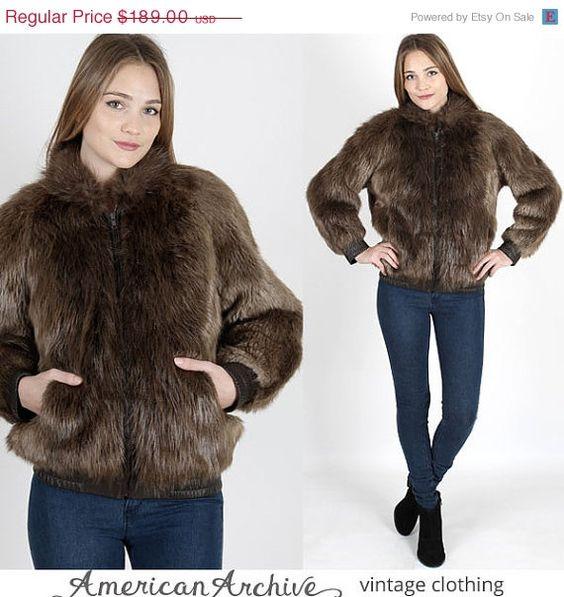 ON SALE vintage 70s Beaver Fur Coat Silky Brown Plush Bomber