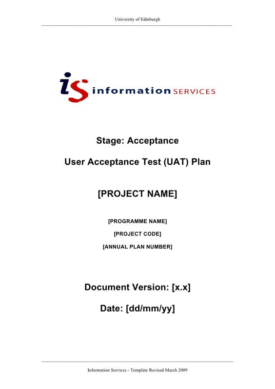 user-acceptance-test-plan by Samuel90 via Slideshare My work - sample test plan