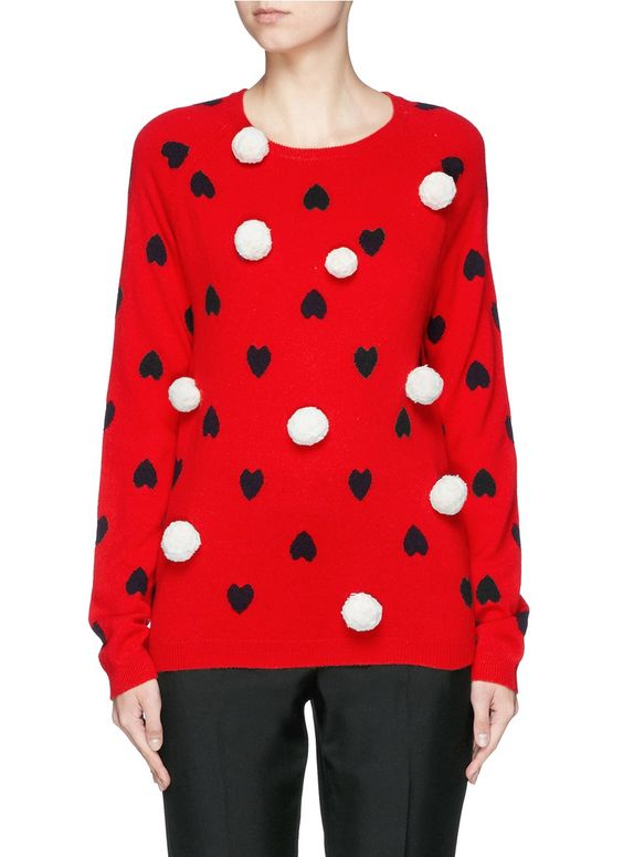 Chinti & parker Pompom Heart Intarsia Cashmere Sweater in Red (Red,Multi-colour)