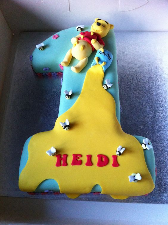 Cake Images With Name Harshit : Winnie the Pooh gluten free first birthday cake Numbers ...