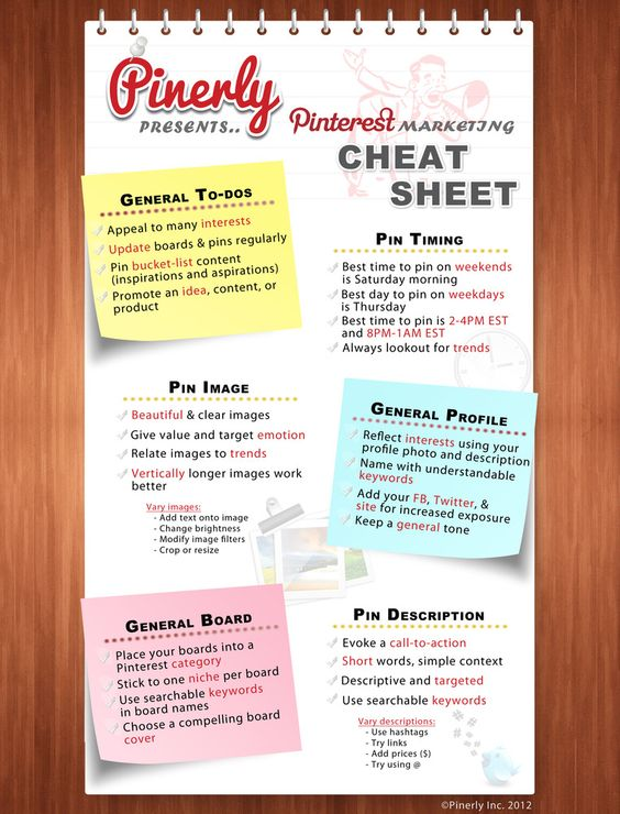 The Ultimate Pinterest Marketing Cheatsheet: Click image to learn what to pin about :)