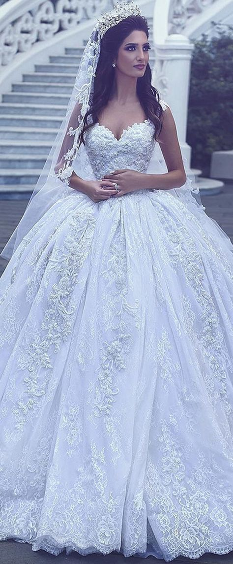 Beaded Lace Off Shoulder Ball Gowns Wedding Dress