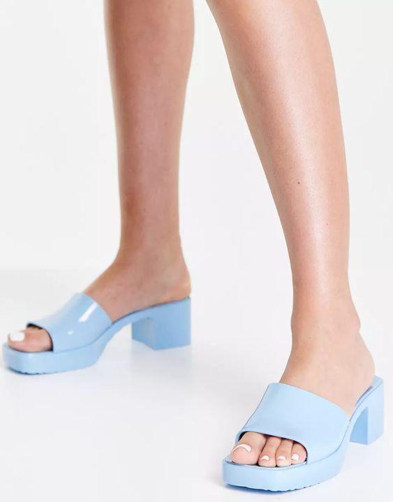 Ego Rhea mid heel mule sandals in blue | ASOS
