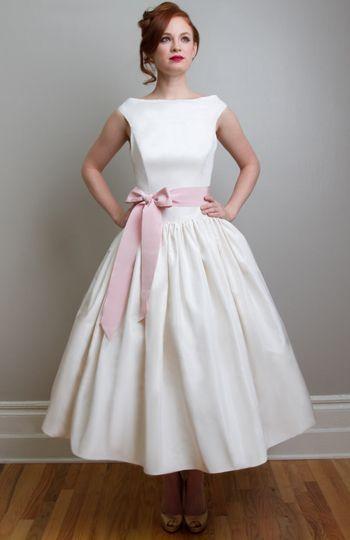 Vintage Tea Length Wedding Dresses | - Tea Length Wedding Dresses - Madeleine - True Vintage Inspired Tea ...