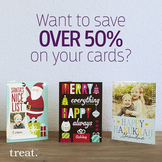 Get a total savings of over 50% when you shop smart. Pick up an 18-card pack from the Treat Card Club and use code SAVECLUB to receive an additional 15% off at checkout. Offer ends 11/16.: Hanukkah Cards, Card Club, Thanksgiving Cards, Code Saveclub