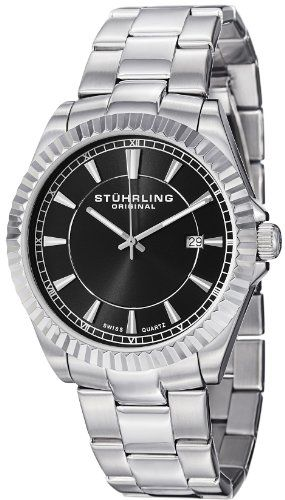 The Stuhrling Original Men's 408G.33111 Swiss Quartz Black Dial Stainless Steel Bracelet Watch is clean and sophisticated timepiece with a rigid stainless steel bezel that