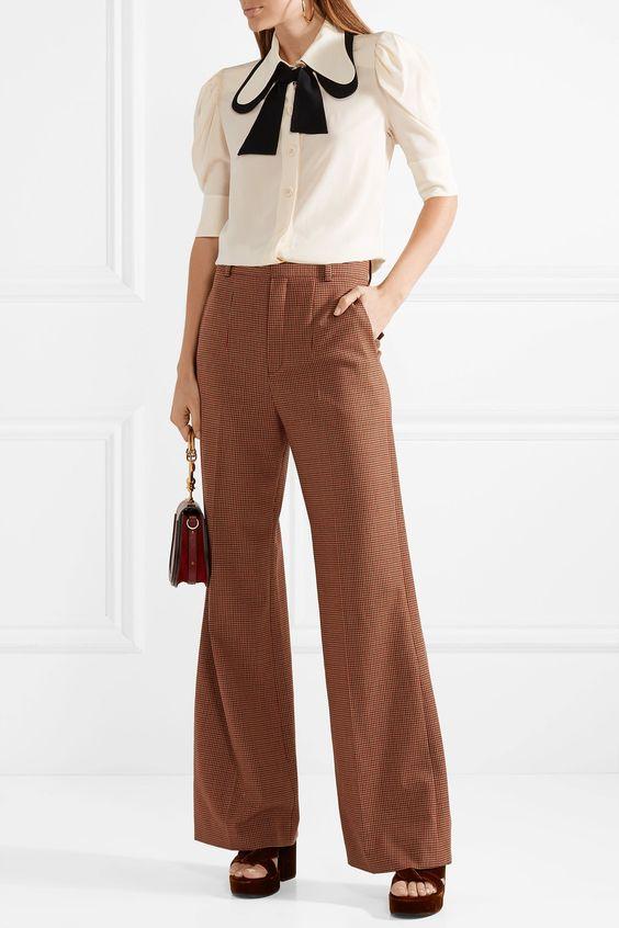 Chloé | Two-tone silk crepe de chine blouse | NET-A-PORTER.COM