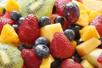 Fresh Fruit Salad  What combination of fresh fruits you put into the bowl is really up to you. A lot may depend on what looks best when you're at the market.