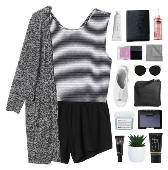"""""""STARING AT THIS SUMMER NIGHT"""" by elainesabine ❤ liked on Polyvore featuring Monki, Una-Home, NARS Cosmetics, Byredo, Butter London, Vellux, Davines, Make, Xenab Lone and Royce Leather"""