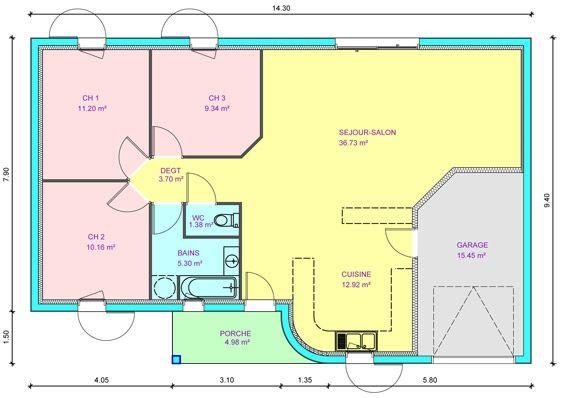 Plan Maison Plain Pied 80m2 3 Chambres Plan