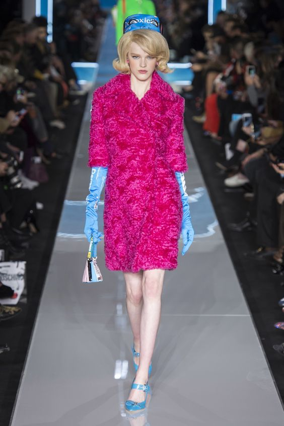 "Moschino Fall 2018 RTW - This collection is either ""Jackie Kennedy revisited"" or cartoonville; this is one of the few pieces that I find even a little attractive."