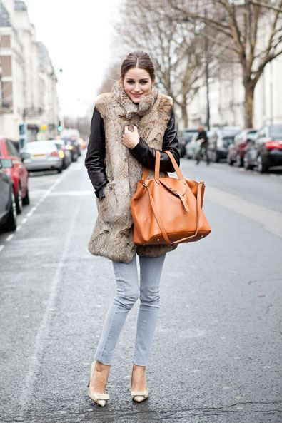 Olivia Palermo, fur vest, oversized handbag, jeans and pumps