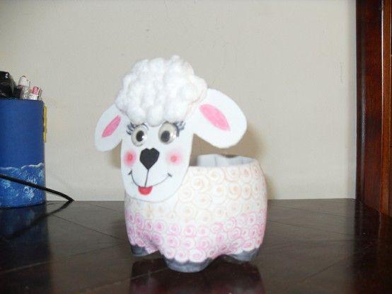 Reciclabe oveja oveja florero hecha de papel youtube - Como hacer una oveja ...