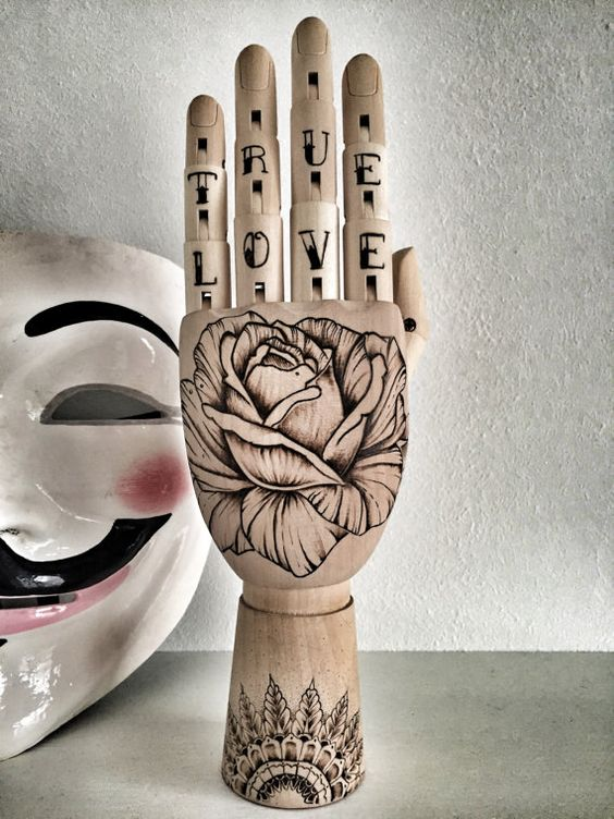 Wooden hand mannequin. Pyrography art. True Love by #pyrography #art #woodburning #artist TimberleeEU