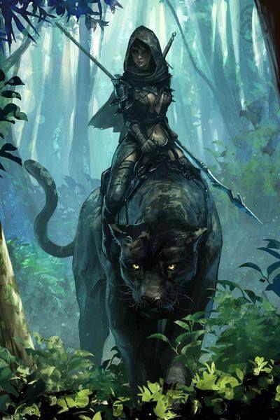 Un elfe sur une panthère.: