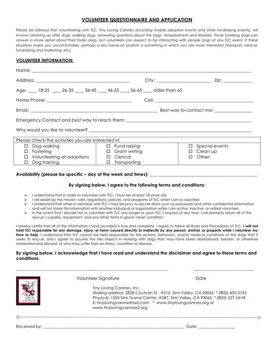 TLC's Volunteer Application. You can also submit an online ...
