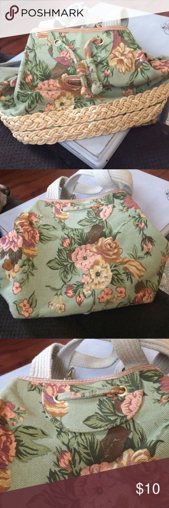 Carpet Bags Small Backpack Cute floral bag! It's small, maybe 8x8. Has jute trim around the bottom of it. In excellent condition. Bags Backpacks