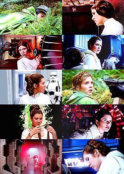 Movie stills of Princess Leia from the original Star Wars trilogy.