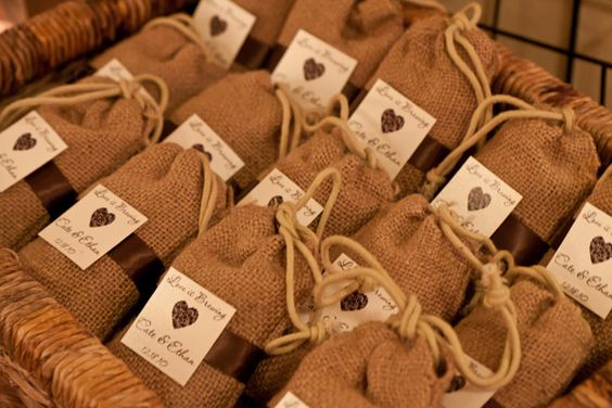 This would be for a coffee themed wedding, love the idea of texture on the bags: