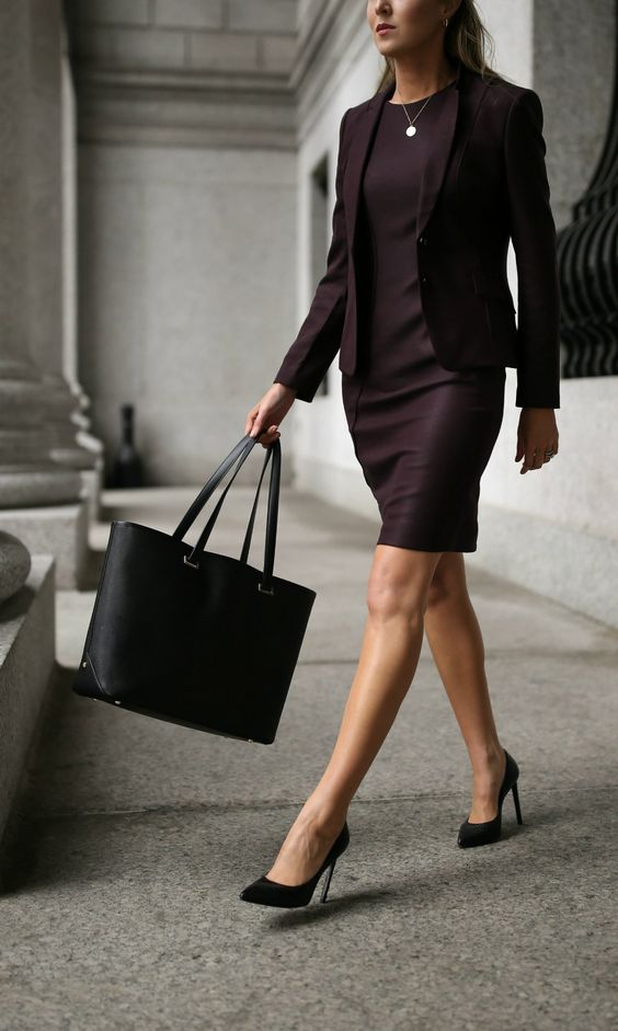 Workwear Wardrobe Essentials 2017 //  Classic burgundy sheath dress + tailored jacket, black tote bag, stiletto pumps + gold hoop earrings {Jimmy Choo, Hugo Boss, professional attire, office style staples, classic suit}