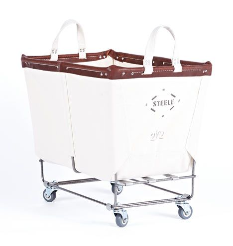 2-1/2 Bushel Steele Canvas Laundry Bin Natural Canvas with Brown Leather Trim