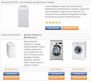 Waschtrockner Toplader - Vergleichstabelle der Testsieger › Waschtrockner Toplader