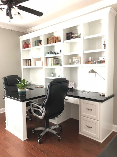 Center Island Double Desk With Beadboard Backer Amp Filing Drawer Fronts And Ebony Stain Counte Home Office Cabinets Home Office Design Home Office Furniture