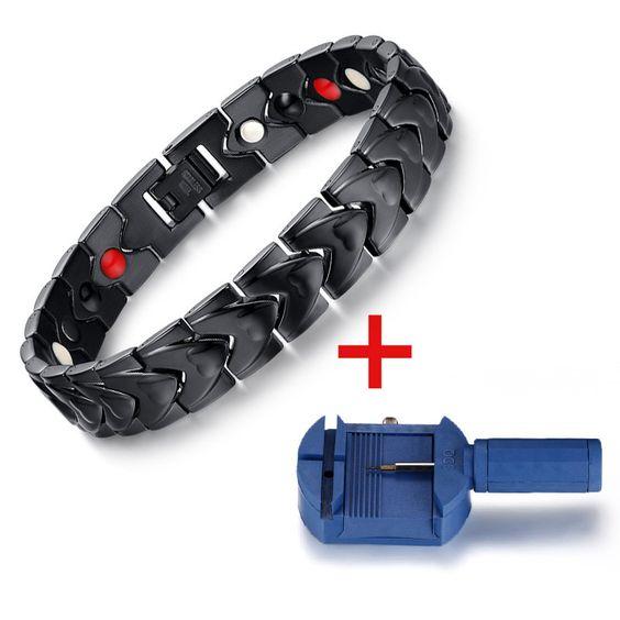 Black Men's Health Bracelets & Bangles Magnetic H Power Stainless Steel Charm Bracelet Jewelry For Man