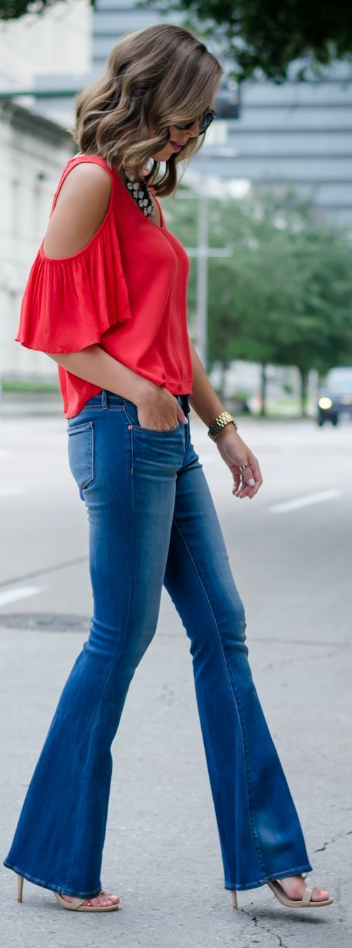 Flare Denim Red Cold Shoulder Top by For The Love Of Fancy CollectiveStyles.com: