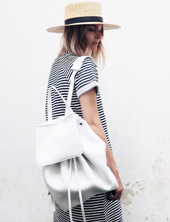 robe marinire canotier maxi sac dos blanc le bon mix sac