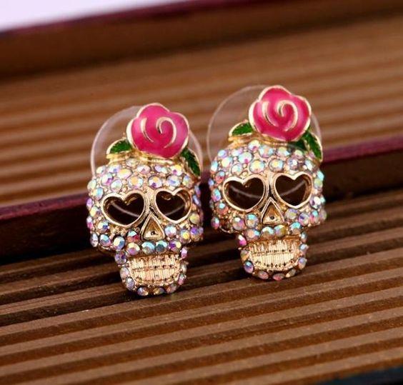 Skull Diamante Earring Studs