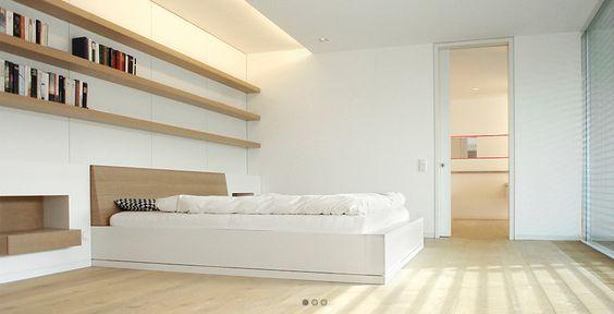 chambre a coucher palette monochromatique clairage encastr grande tag re fen stration. Black Bedroom Furniture Sets. Home Design Ideas