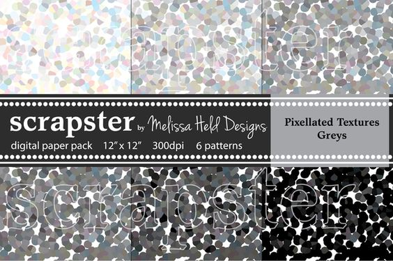 Check out Pixelated Textures: Greys by scrapster on Creative Market