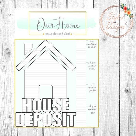 House Deposit Savings Tracker Printable Coloring Page Savings Tracker Save For House Savings Chart