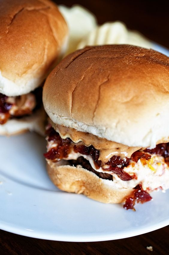 Peanut Butter Bourbon Bacon Jam Pimento Cheese Potato Chip Sliders: sounds crazy but they are  crazy good. A take on Michael Mina's version at his restaurant PUB 1842 in Las Vegas. #burger #burgermonth