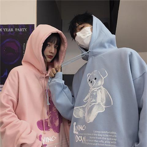 CARTOON BEAR HOODIE | Pasangan korea, Foto teman, Ide kostum