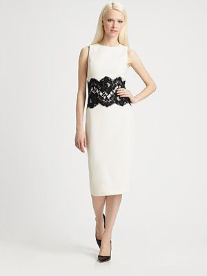 Michael Kors  Wool Lace Waist Dress