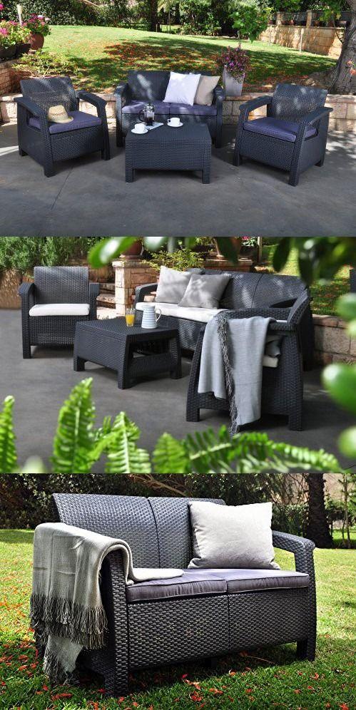 Dark Charcoal Resin Wicker Gray Outdoor Patio Furniture Set Deep