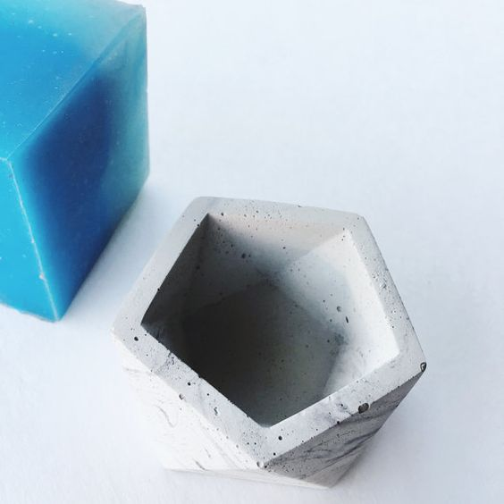 Reusable Geometric Mold hex shape  use with concrete, wax, plaster, glycerin, resin