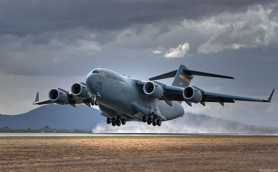 C-17 Globemaster takeoff  Origin- USA  India recently bought 6 C-17 with additional 6 on offer