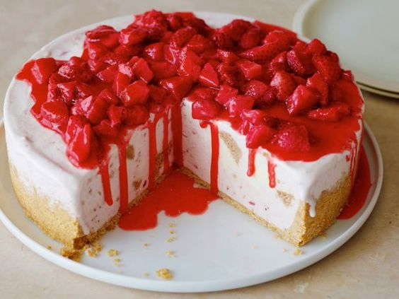 Recipe of the Day: Party-Ready Frozen Strawberry Cheesecake.   It takes a cheesecake to make a cheesecake. Chop up the store-bought variety and mix it with strawberry ice cream, then pour that into a graham cracker crust to form a new, impressive dessert. #RecipeOfTheDay